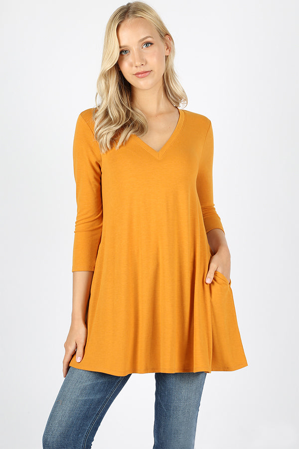 Sleeve V- Neck 3/4 Sleeve Flared Top with Side Pockets - VKY & Co