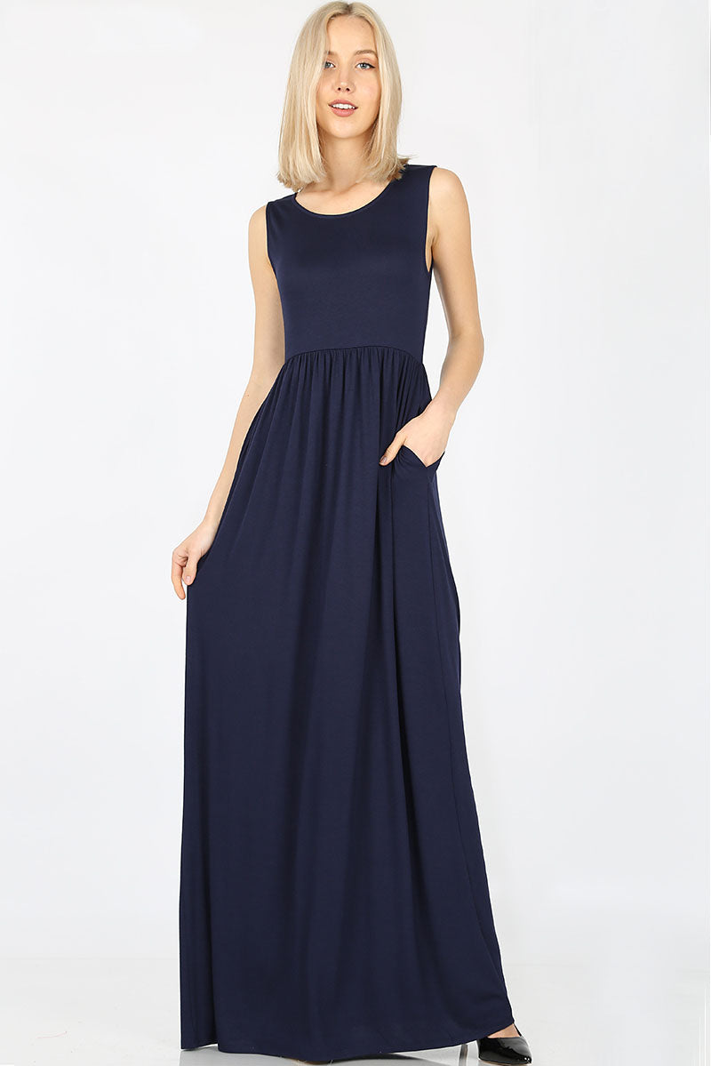 Sleeveless Maxi Dress Waist Shirring - VKY & Co