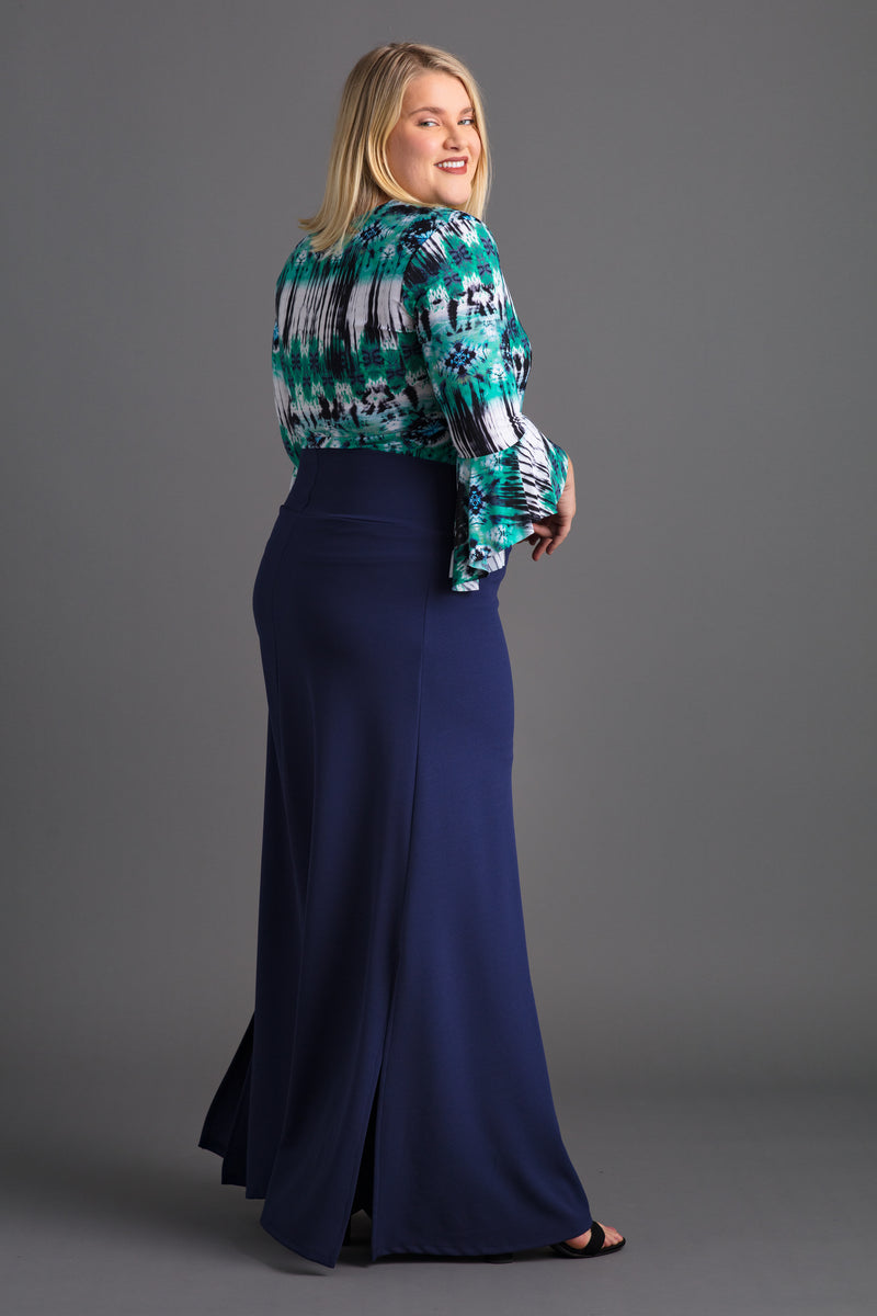 Tummy Control Maxi Skirt with Open Side Slit