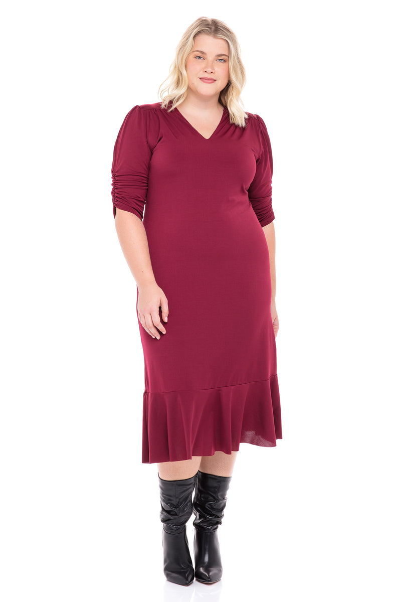 Midi V-Neck Ruched Sleeves Dress