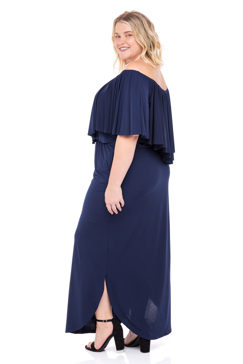 Off Shoulder Gypsy Maxi Dress with Pockets