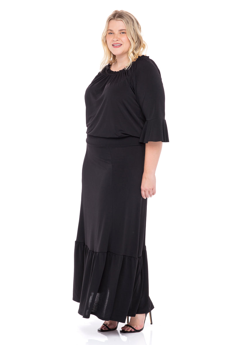 Off - Shoulder Tummy Control Maxi Dress