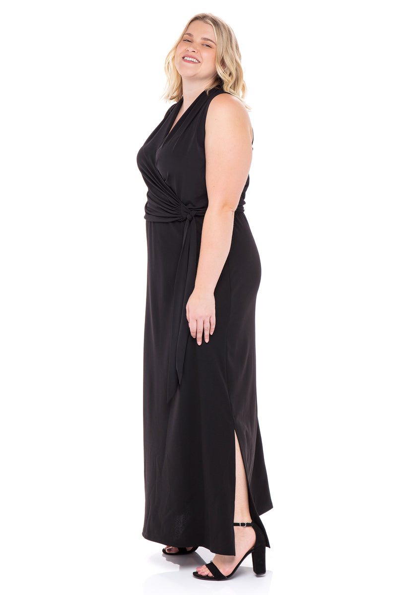 Self-Tie Maxi Dress with Side Slit