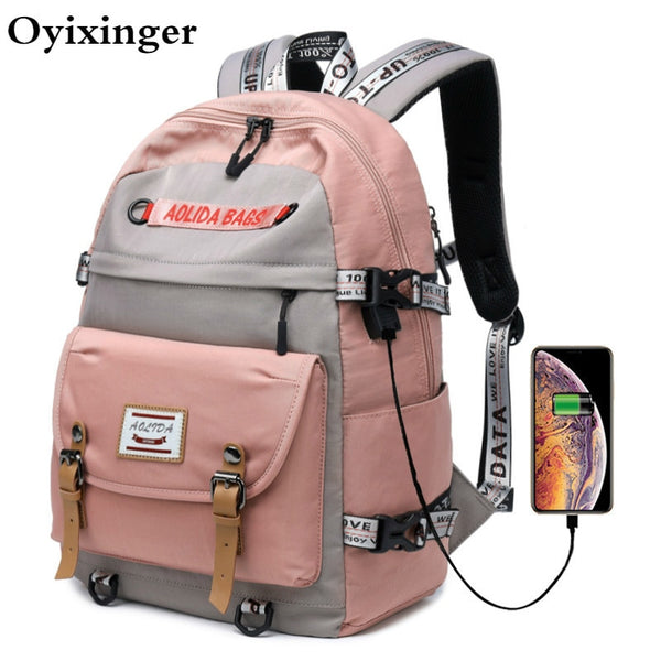 Girls High School Bookbags With USB Charging Port