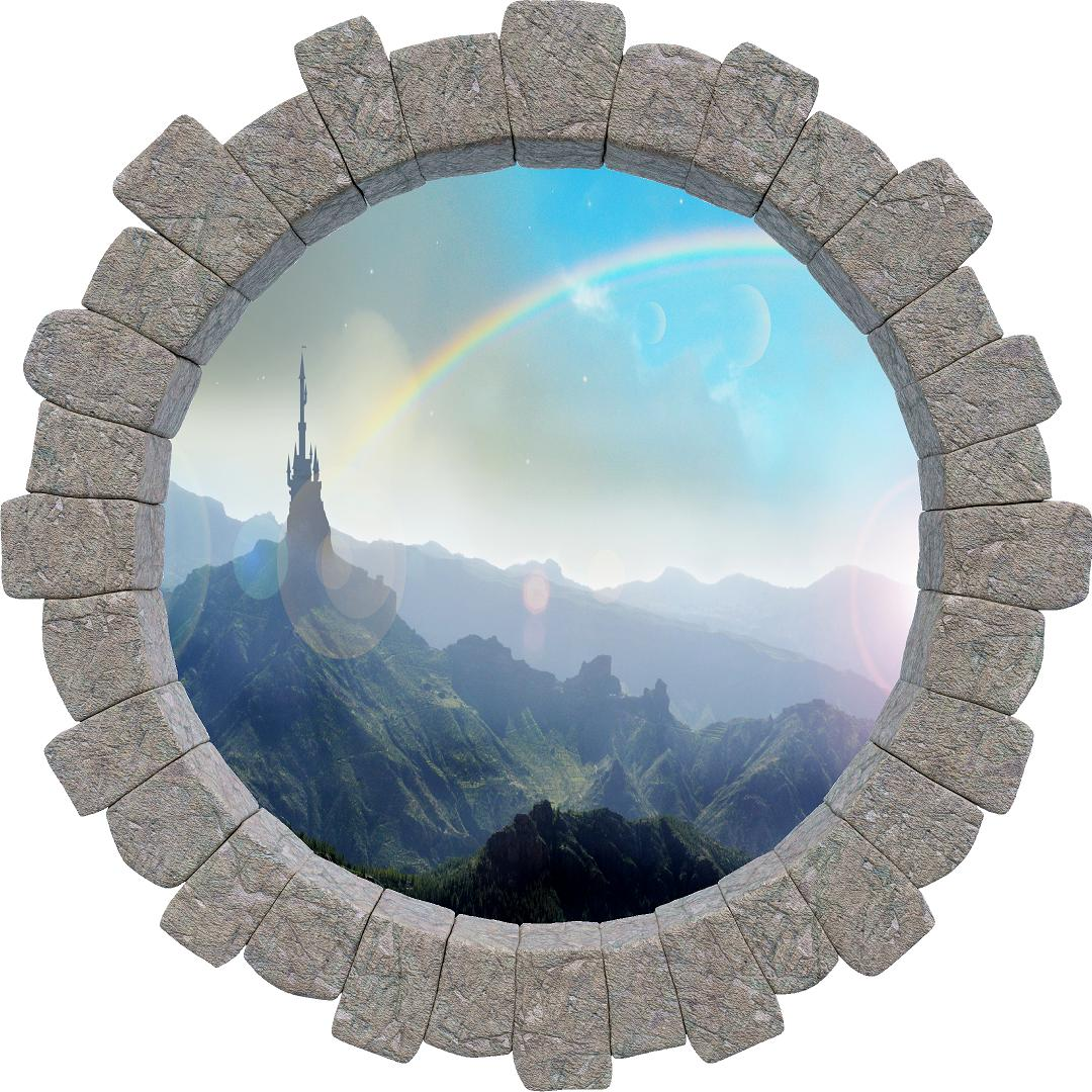 3D Stone Hole Wall Decal Rainbow Over Fairytale Castle On Mountain Top Brick Window Removable Fabric Vinyl Wall Sticker | DecalBaby