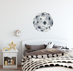 Watercolor Asteroid Moon Wall Decal Removable Fabric Vinyl Wall Sticker Baby Nursery Decor | DecalBaby