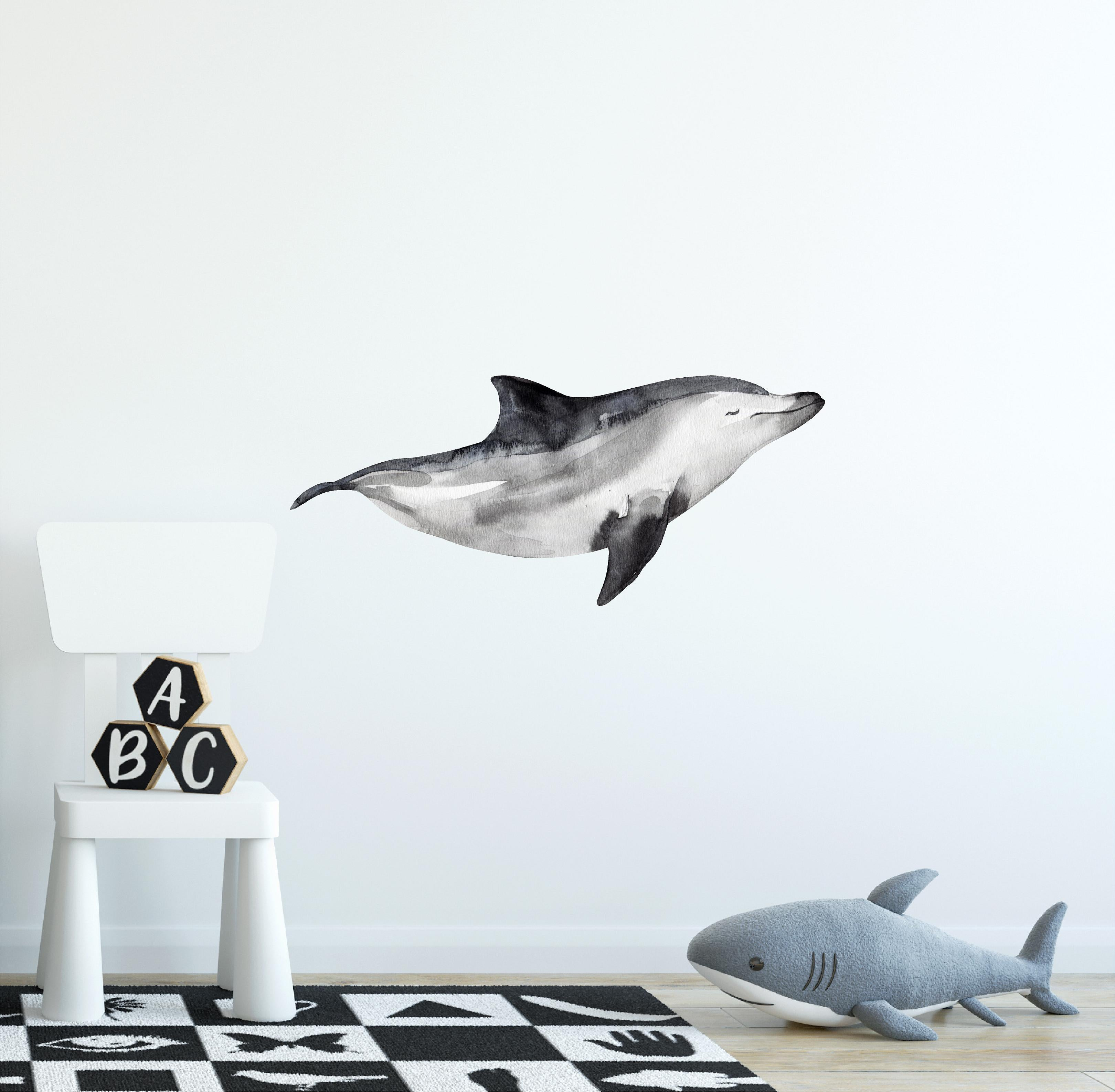 Baby Bottlenose Dolphin Wall Decal Watercolor Gray Dolphin Wall Sticker | DecalBaby
