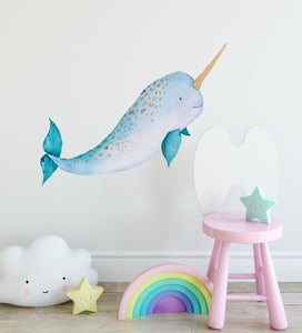 Baby Narwhal Watercolor Wall Decal Removable Fabric Vinyl Cute Sea Animal Unicorn Wall Sticker