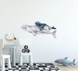 Watercolor Beluga & Baby Wall Decal Mother & Baby Belugas Fabric Vinyl Wall Sticker | DecalBaby