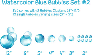 Watercolor Blue Bubbles #2 Wall Decal Set Ocean Sea Soap Bubble Wall Stickers Wall Art Kids Playroom Whimsical Nursery Decor | DecalBaby