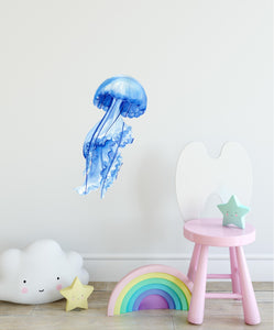 Watercolor Blue Jellyfish Wall Decal Ocean Fish Sea Animal Wall Sticker Removable Fabric Vinyl| DecalBaby