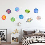 Colorful Planets Wall Decal Set of 9 Watercolor Solar System Wall Stickers Space Theme | DecalBaby