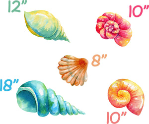 Colorful Seashells Set Wall Decal Set of 5 Watercolor Wall Sticker Under The Sea Ocean Shells | DecalBaby