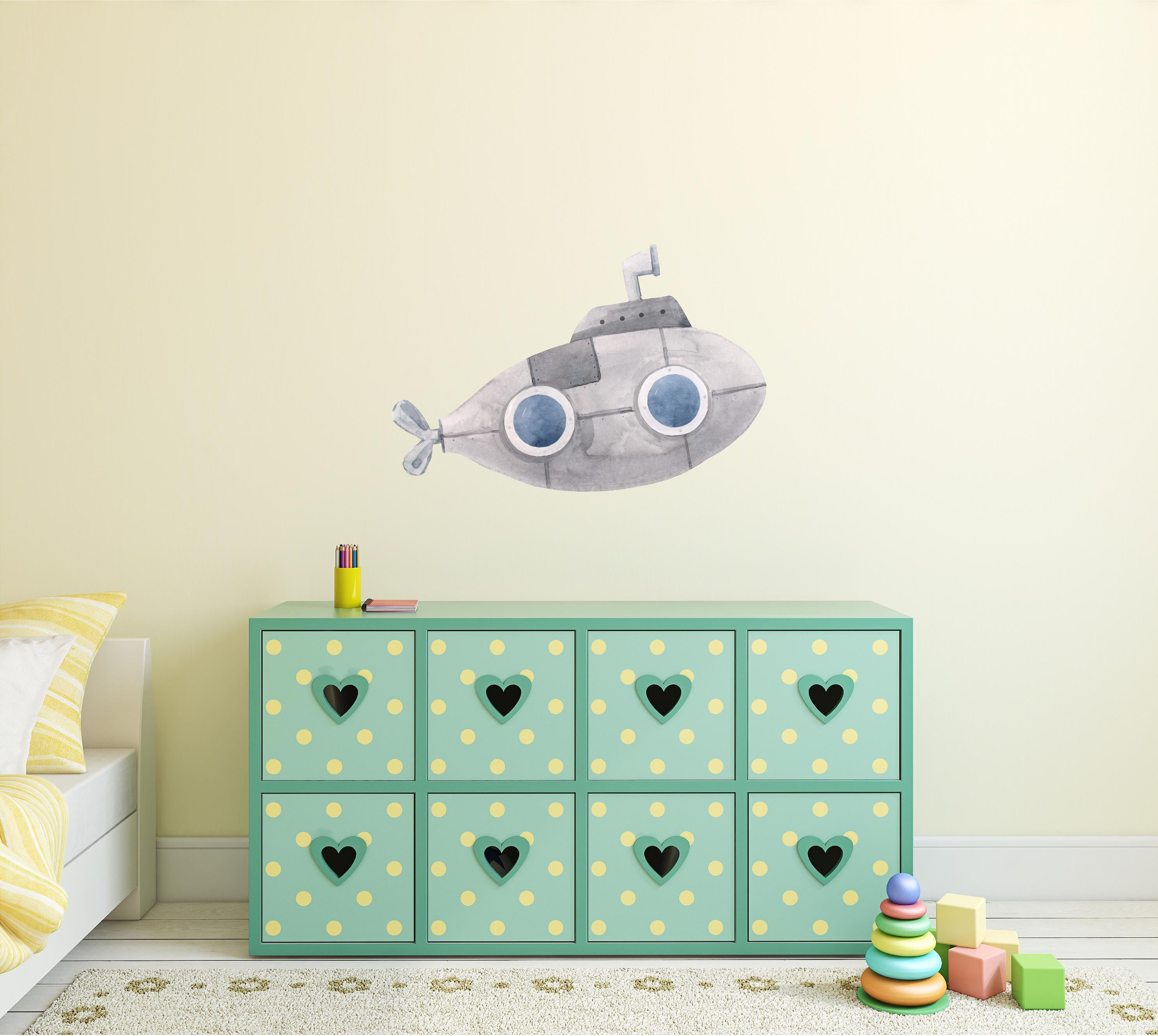 Gray Submarine Wall Decal Watercolor Underwater Ship Deep Sea Explorer Wall Sticker | DecalBaby