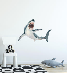 Great White Shark Mouth Open Wall Decal Shark Attack Ocean Sea Wall Sticker | DecalBaby