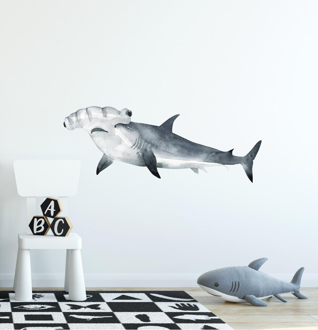 Watercolor Hammerhead Shark #2 Wall Decal Scalloped Shark Sea Animal Removable Fabric Vinyl Wall Sticker