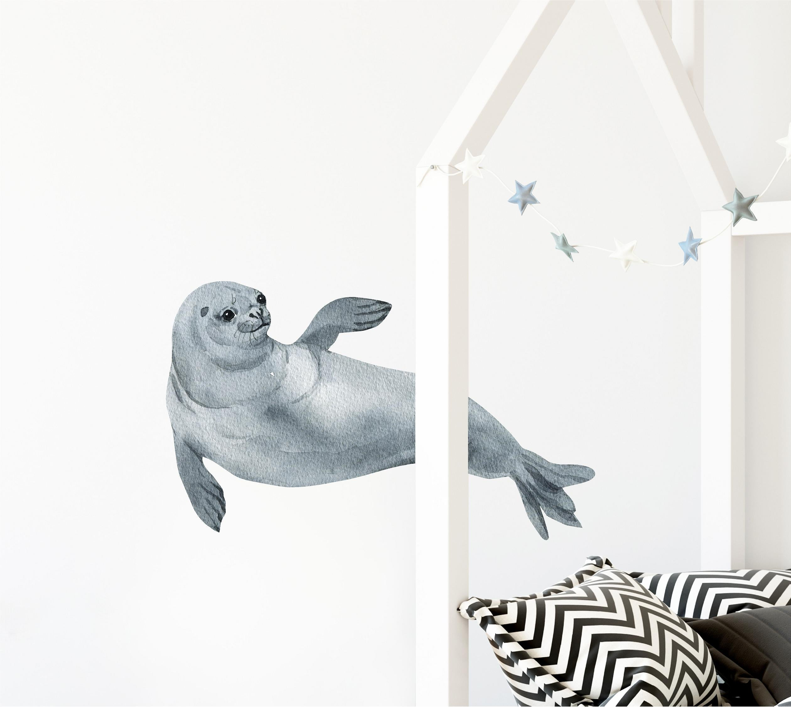 Watercolor Hawaiian Monk Seal Wall Decal Removable Fabric Vinyl Seal Sea Animal Wall Sticker