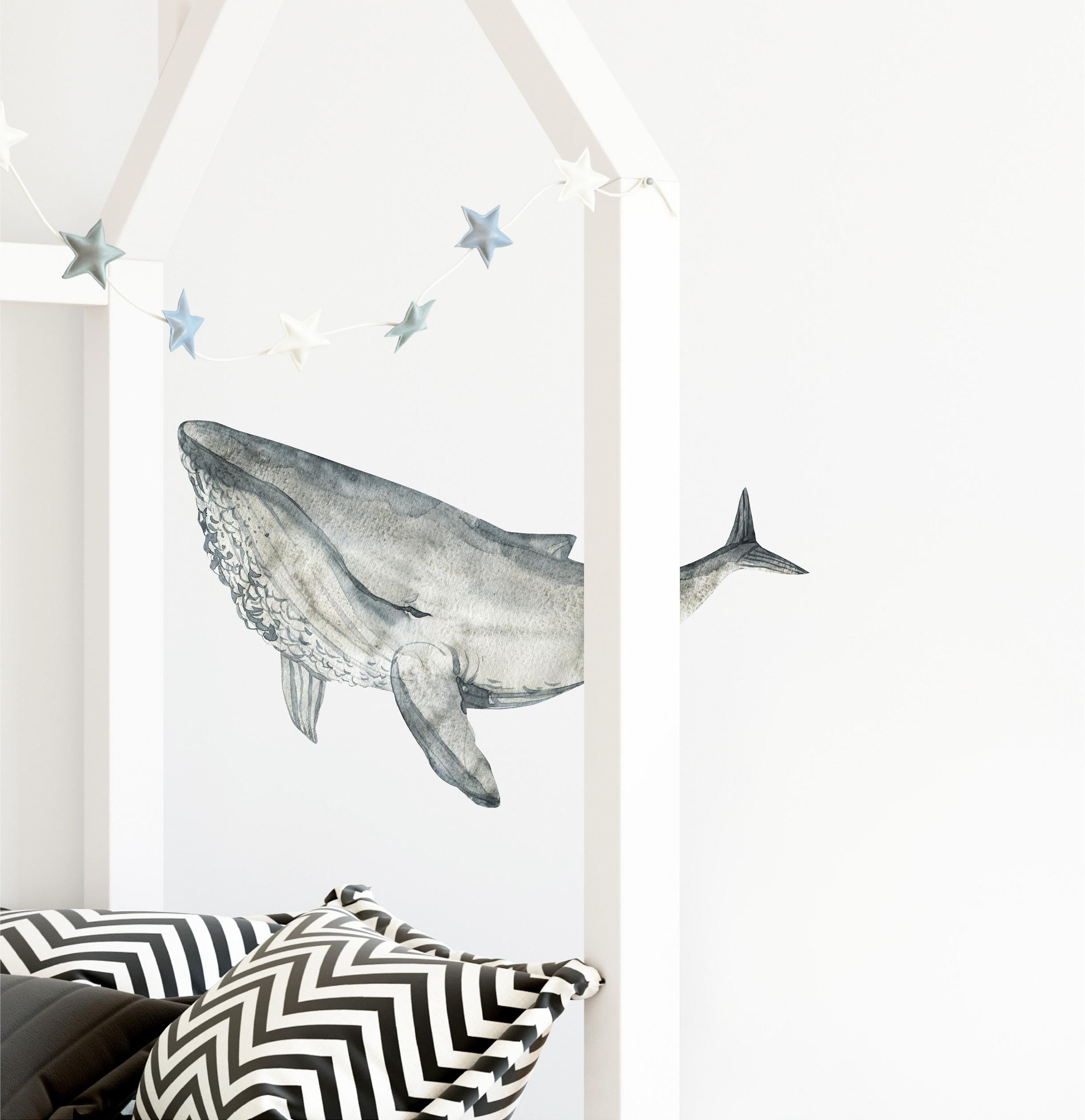 Humpback Whale #4 Wall Decal Removable Fabric Vinyl Watercolor Sea Animal Wall Sticker