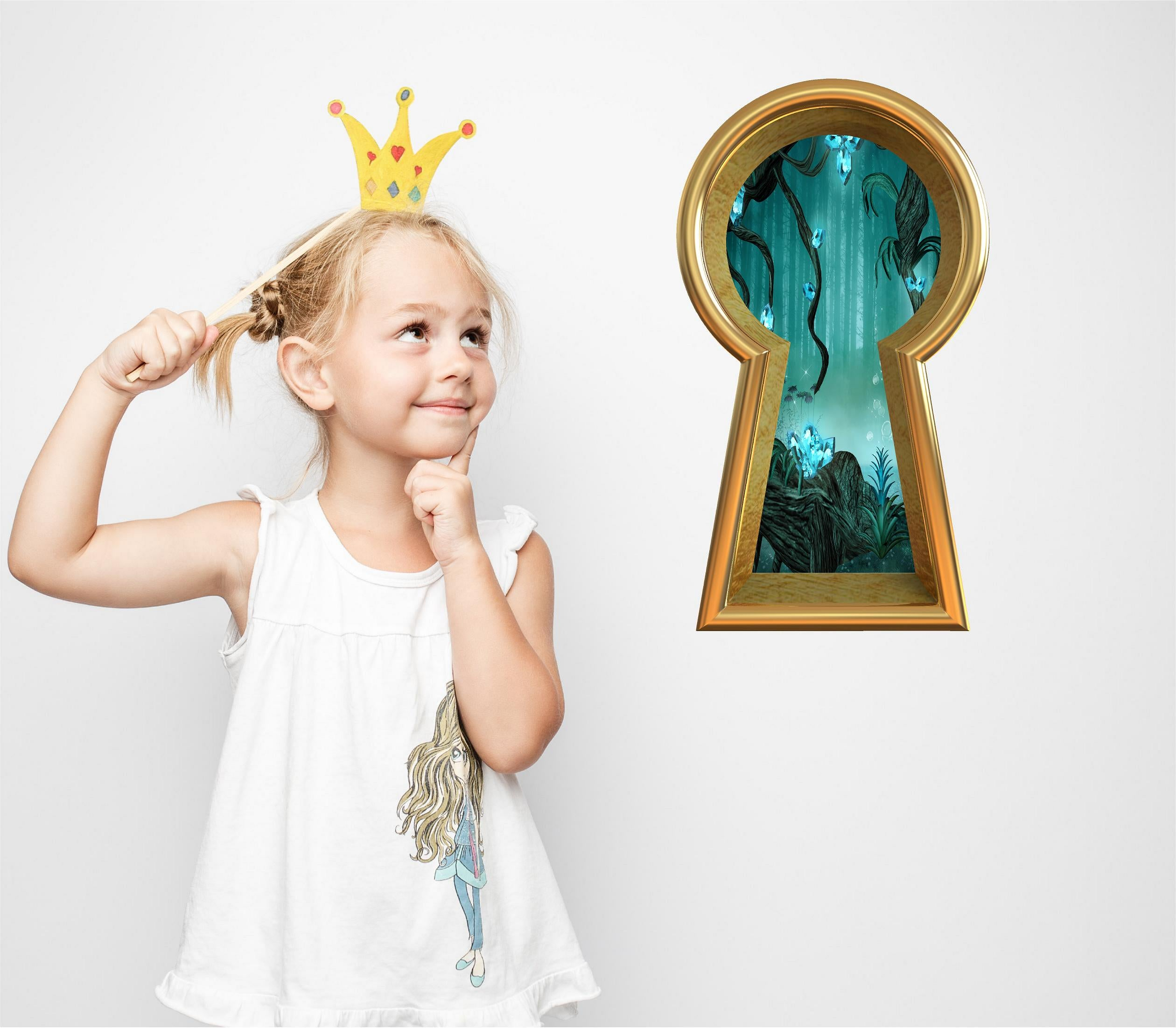 3D Keyhole Wall Decal Enchanted Crystal Forest Fantasy Wall Art Removable Wall Sticker