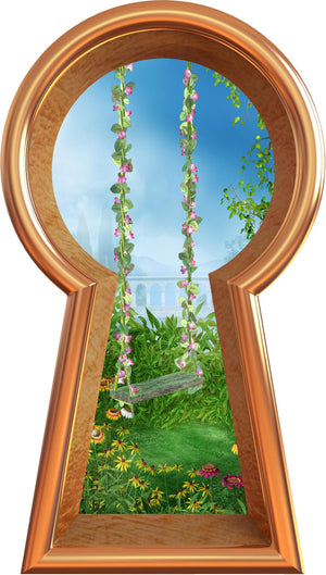 3D Keyhole Wall Decal Enchanted Garden Flower Swing Removable Wall Sticker