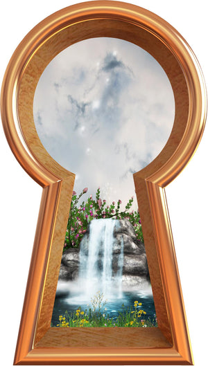 3D Keyhole Wall Decal Fairy Tale Waterfall Fantasy Wall Art Removable Wall Sticker