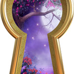 3D Keyhole Wall Decal Foggy Purple Moonlight Tree Removable Wall Sticker