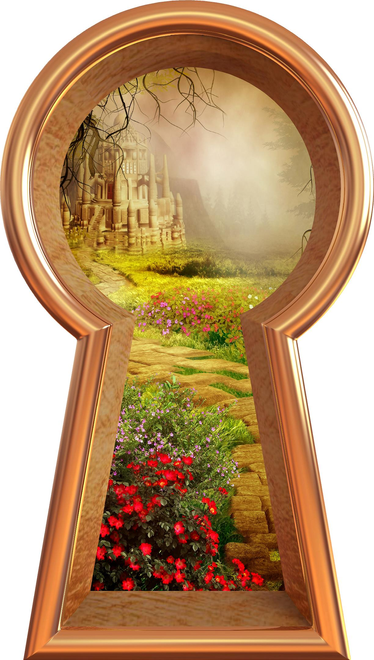 3D Keyhole Wall Decal Stone Path to Fairy Tale Castle Removable Wall Sticker