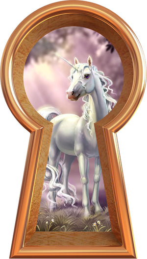 3D Keyhole Wall Decal Unicorn In Meadow Fantasy Portal Removable Wall Sticker