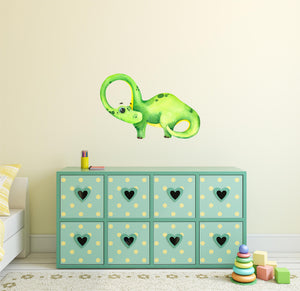 Brontosaurus Dinosaur Wall Decal Watercolor Long Neck Dino Wall Sticker Removable Fabric Vinyl | DecalBaby