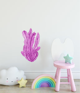 Magenta Seaweed #1 Wall Decal Watercolor Seaweed Sea Life Marine Algae Deep Sea Ocean Wall Sticker | DecalBaby
