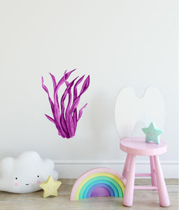 Magenta Seaweed #2 Wall Decal Watercolor Seaweed Sea Life Marine Algae Deep Sea Ocean Wall Sticker | DecalBaby