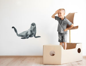 Northern Fur Seal Wall Decal Watercolor Eared Seal Sea Animal Pacific Ocean Seal Wall Sticker | DecalBaby
