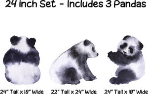Watercolor Panda Bears Wall Decal Set of 3 Panda Wall Stickers | DecalBaby