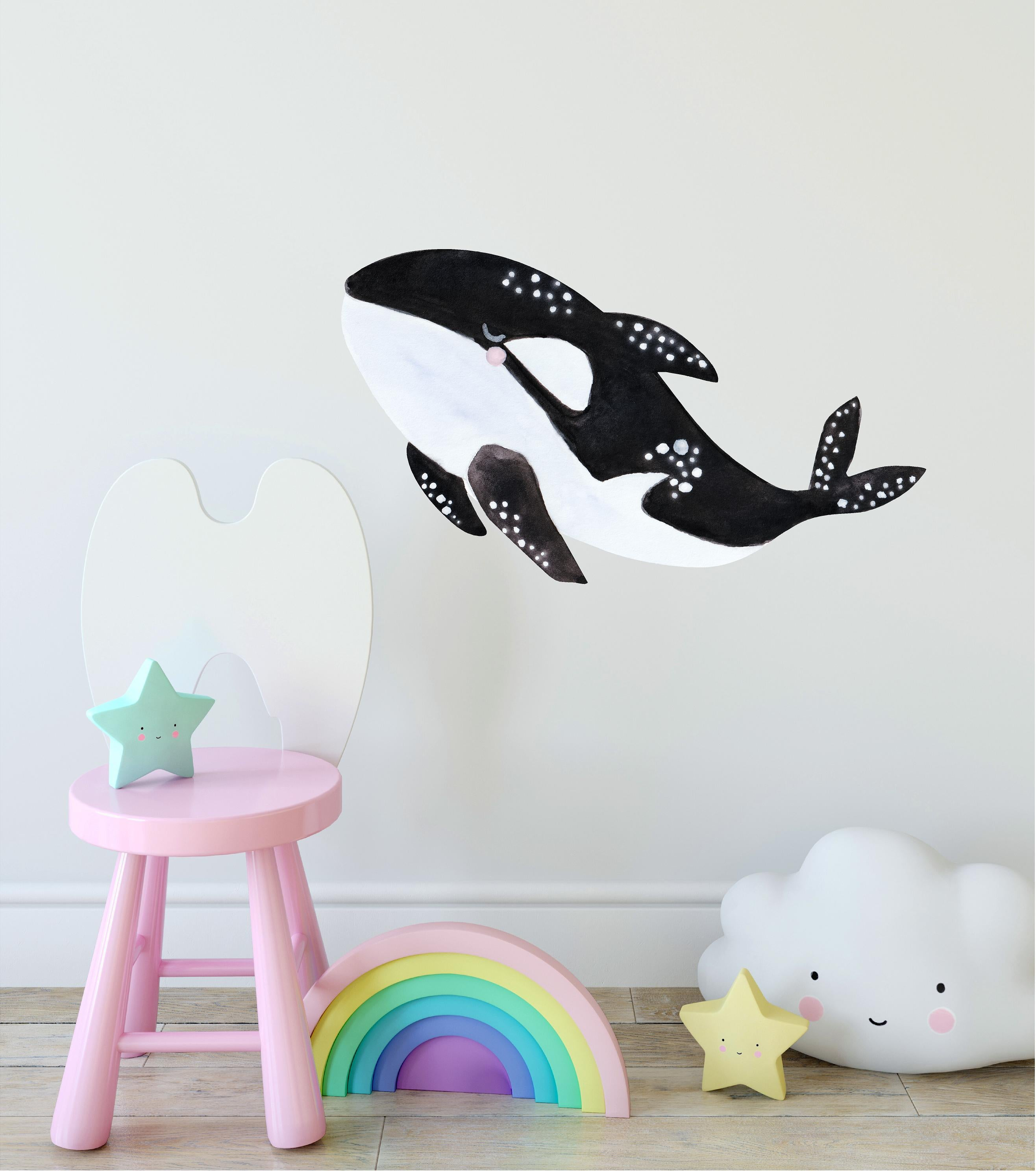 Pastel Killer Whale Orca Wall Decal Ocean Sea Animal Watercolor Wall Sticker Whale Wall Art | DecalBaby