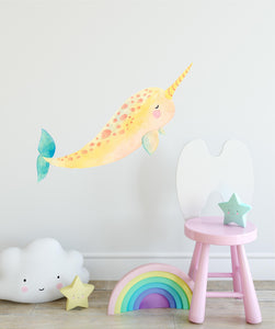 Pastel Narwhal Wall Decal Removable Fabric Vinyl Cute Watercolor Sea Animal Unicorn Wall Sticker | DecalBaby