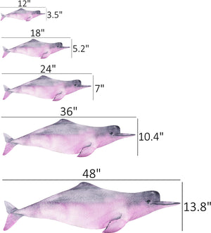 Watercolor Pink Amazon River Dolphin Wall Decal Removable Fabric Vinyl Wall Sticker