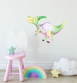Pastel Saurolophus Dinosaur Wall Decal Watercolor Dino Wall Sticker Jurassic Herbivore Childrens Nursery Decor | DecalBaby