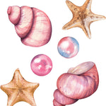 Seashells, Starfish & Pearls Set Wall Decal Set of 6 Watercolor Wall Stickers | DecalBaby