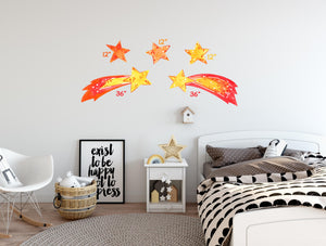 Shooting Stars Wall Decal Set, Watercolor Space Star Comets Wall Stickers | DecalBaby