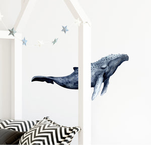 Sleepy Indigo Humpback Whale Wall Decal Removable Fabric Vinyl Sea Animal Wall Sticker | DecalBaby