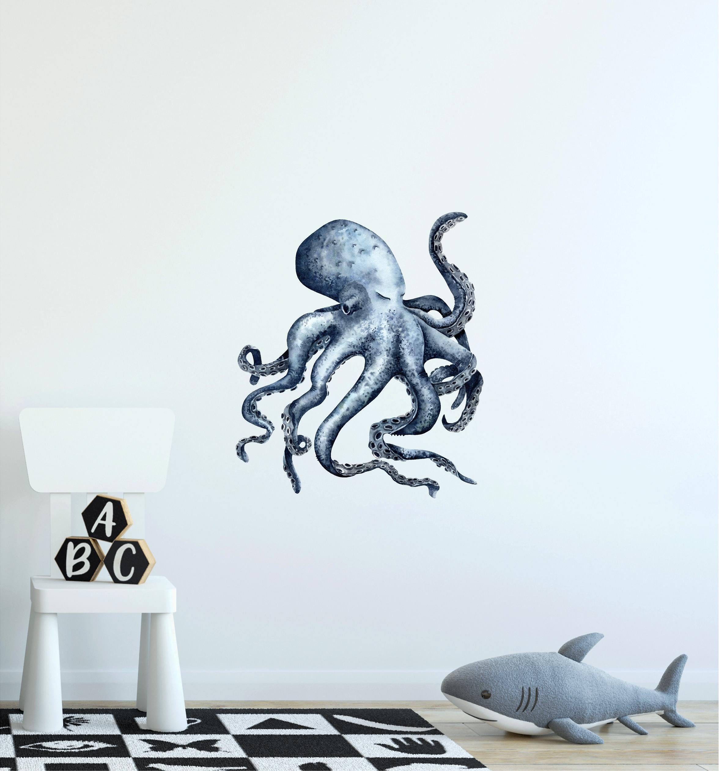 Sleepy Indigo Octopus Wall Decal Watercolor Sea Animal Removable Fabric Vinyl Wall Sticker | DecalBaby