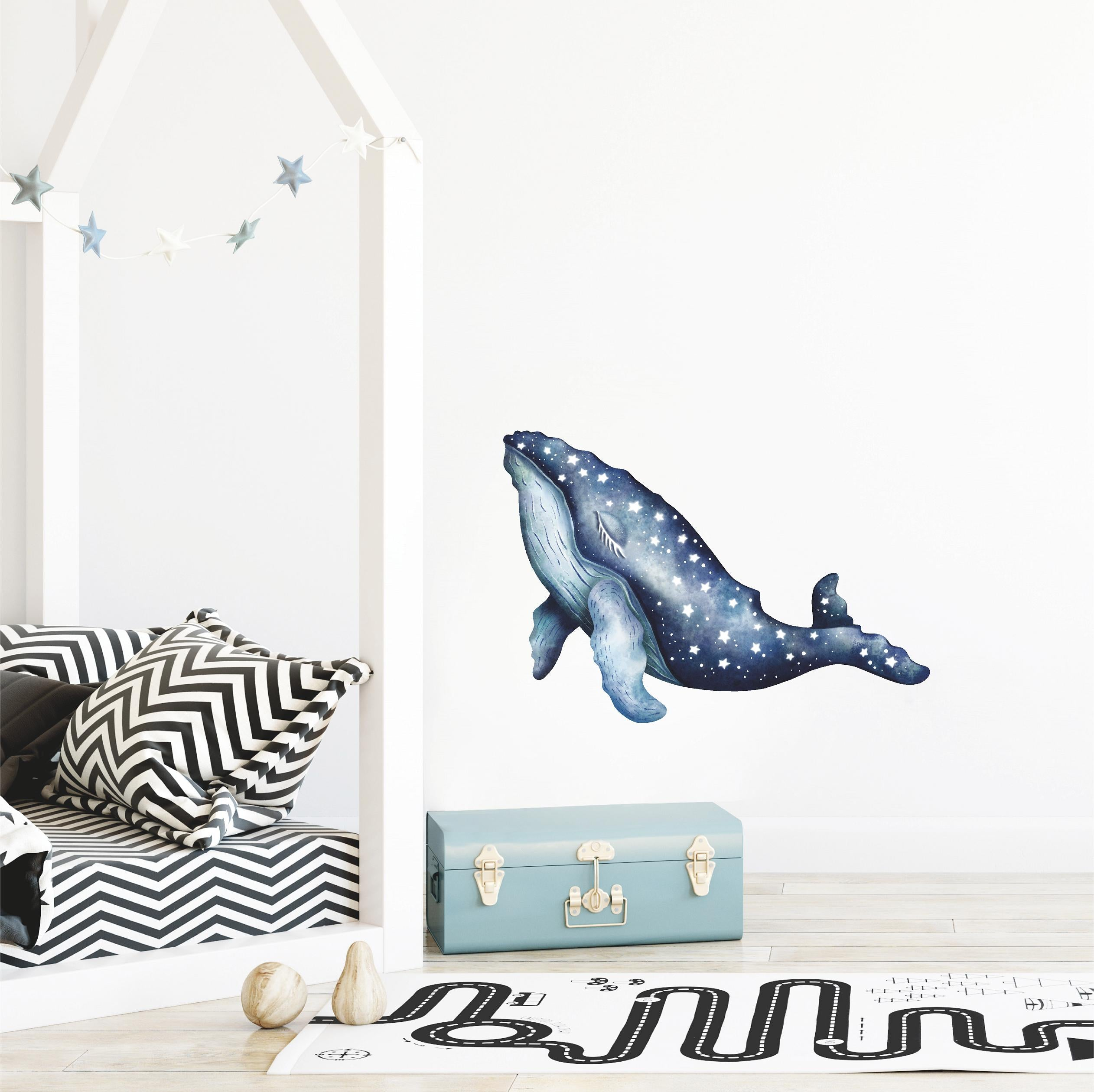 Sleepy Star Humpback Whale #1 Wall Decal Removable Fabric Vinyl Watercolor Ocean Sea Animal Wall Sticker | DecalBaby