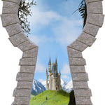 3D Stone Keyhole Wall Decal Castle View from Forest Fairy Tale Princess Brick Window Removable Fabric Vinyl Wall Sticker | DecalBaby