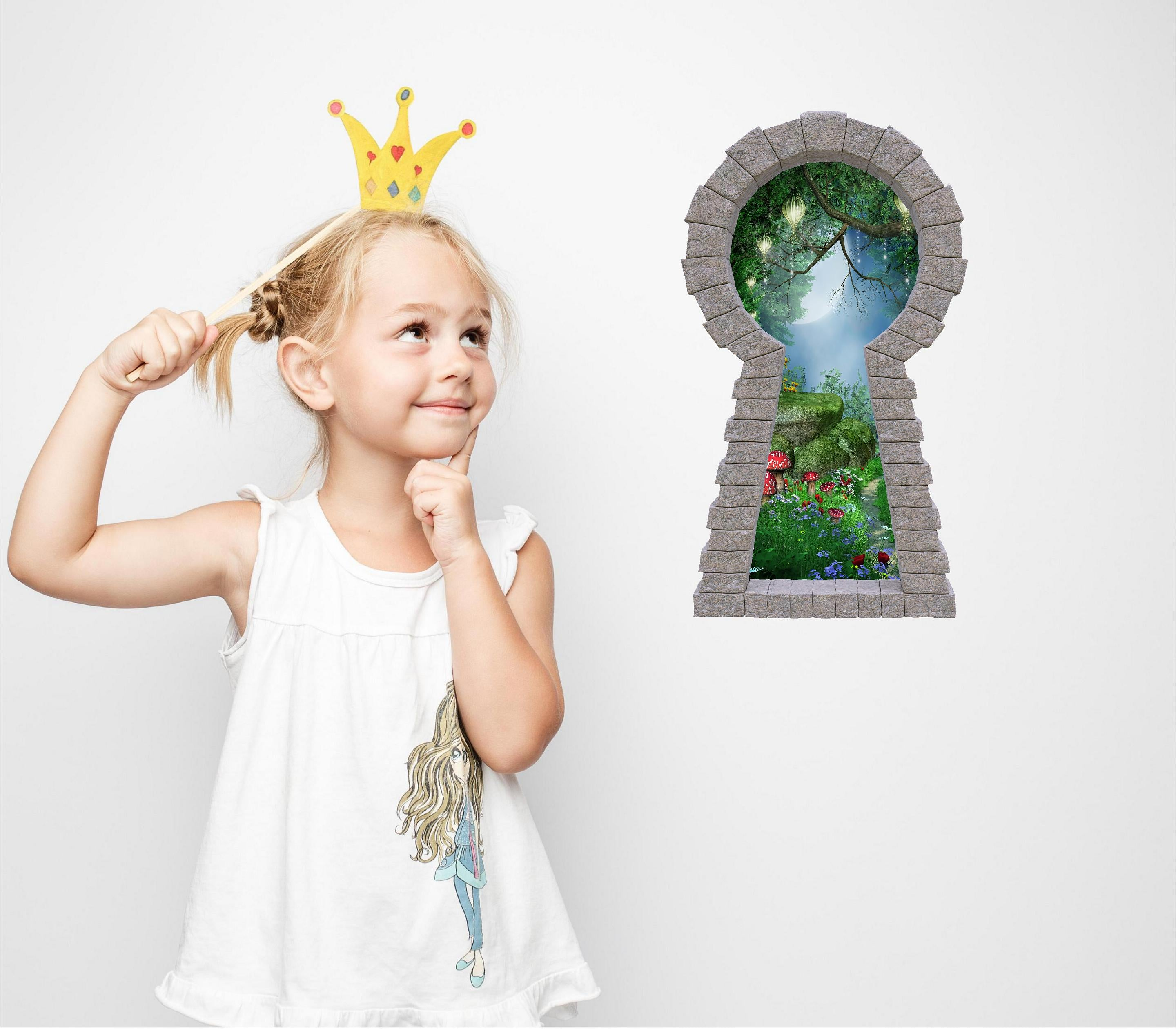 3D Stone Keyhole Wall Decal Enchanted Lantern Forest #1 Alice In Wonderland Fantasy Brick Window Removable Fabric Vinyl Wall Sticker | DecalBaby