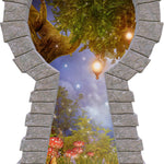 3D Stone Keyhole Wall Decal Enchanted Lantern Tree Fairy Tale Fantasy Brick Window Removable Fabric Vinyl Wall Sticker | DecalBaby