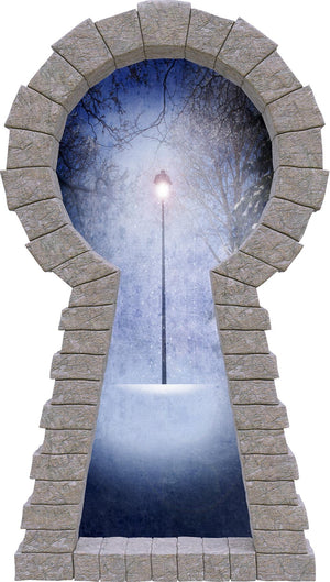 3D Stone Keyhole Wall Decal Narnia Lamp Post Fantasy Brick Window Removable Fabric Vinyl Wall Sticker | DecalBaby