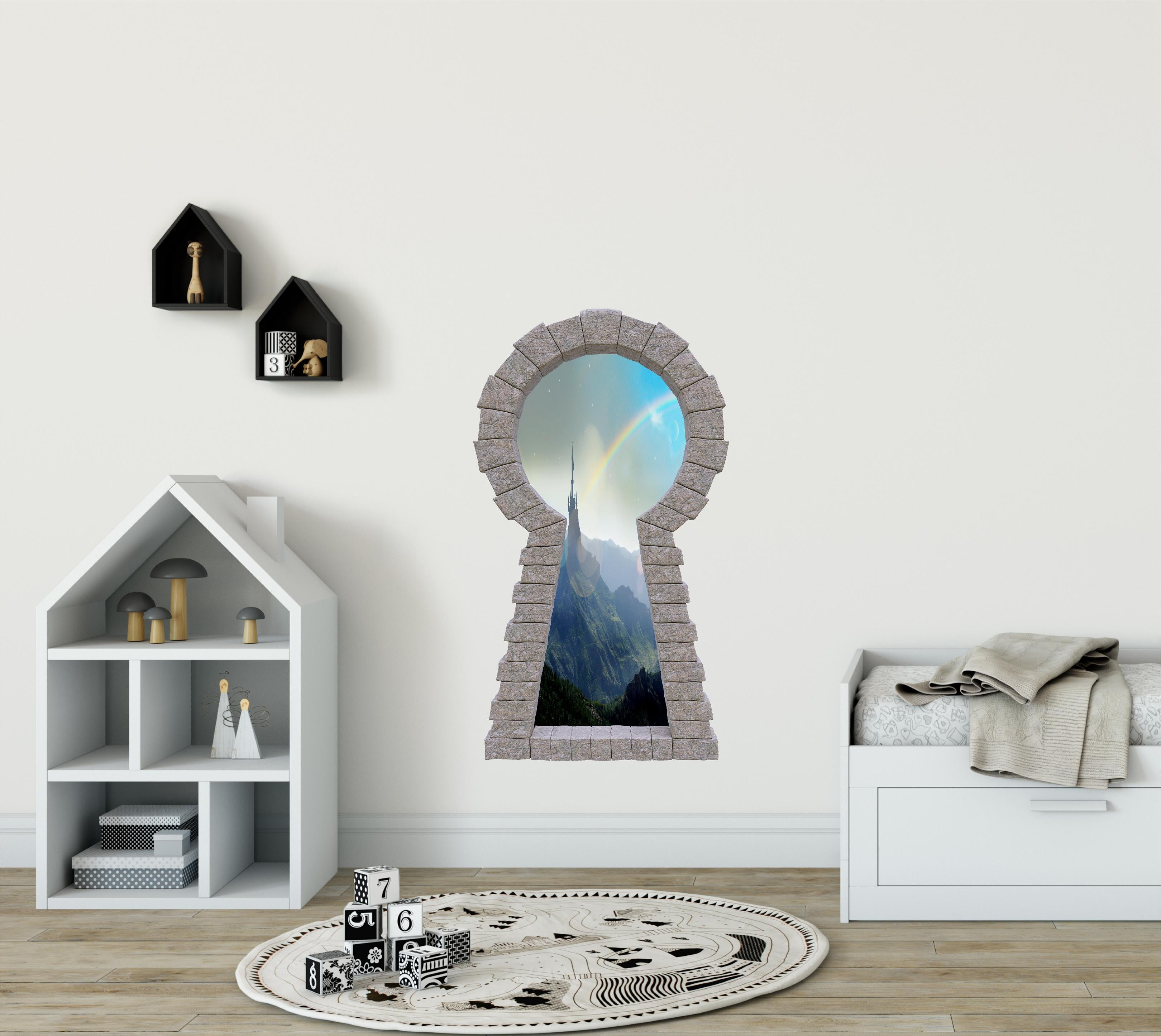 3D Stone Keyhole Wall Decal Rainbow Over Castle Tower Brick Window Enchanted Princess Fantasy Wall Art Removable Wall Sticker | DecalBaby