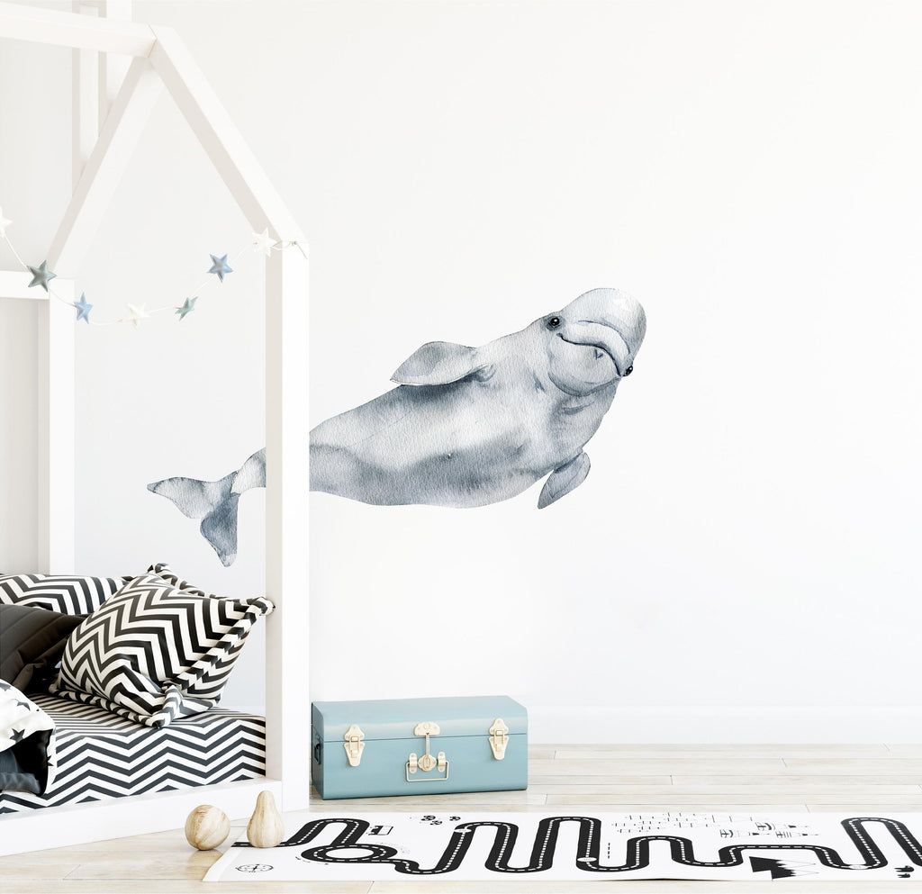 Watercolor Beluga Whale 3 Wall Decal Removable Sea Animal Fabric Vinyl Wall Sticker