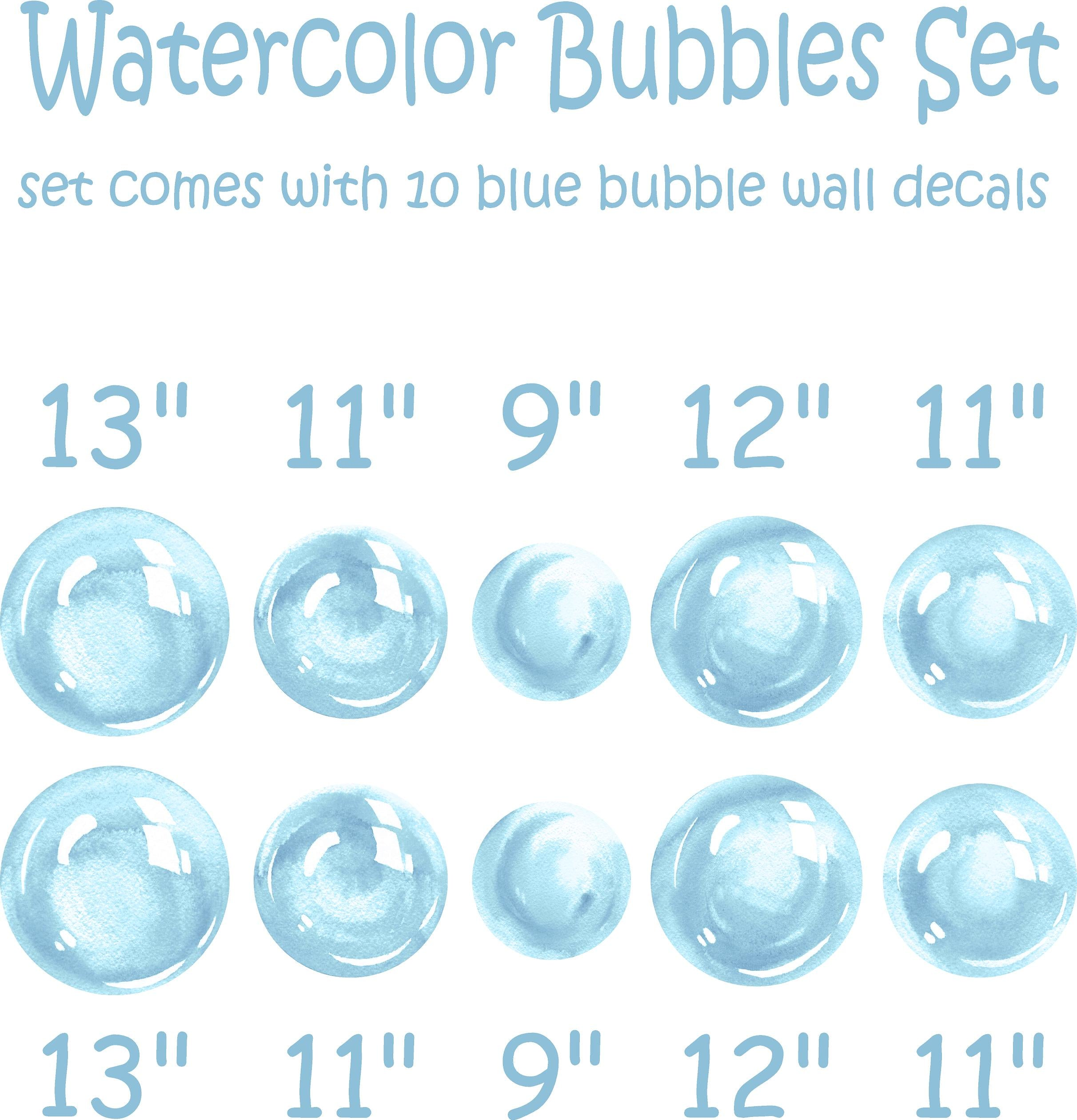 Watercolor Blue Bubbles Wall Decal Set Bubbles Wall Stickers Wall Art Nursery Decor Removable Fabric Vinyl Wall Stickers SIZE LARGE | DecalBaby