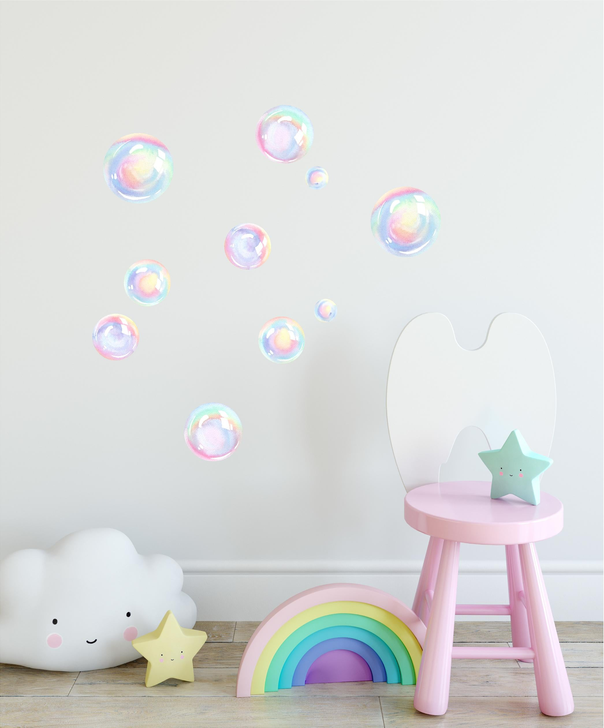 Watercolor Rainbow Bubbles Wall Decal Set Bubbles Wall Stickers Wall Art Nursery Decor Removable Fabric Vinyl Wall Stickers SIZE SMALL | DecalBaby